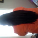 Dark brown virgin hair over 21 in. no blow drying or ironing, well taken care of.