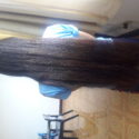 20 inches Dark brown hair with natural silver and brown higlights (Virgin)
