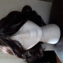 Curly Bob cut with bangs, 10in, dark brown wig.