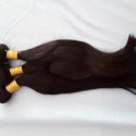 3 bundles, 14in, dark brown, straight human hair.