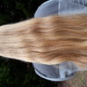 "25"" thick unique virgin blonde w/ natural highlights"