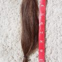 Brown virgin hair, about 13 inches