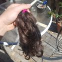 "12 inches, 3"" thick, wavy virgin brown hair (male, non-smoker)"
