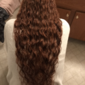 30in red curly hair female virgin hair not cut yet.