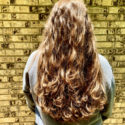 "VIRGIN 15"" Chestnut Curly Soft Hair - Red and Blonde in sunlight, Deep brunette in shade - healthy"