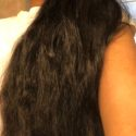 20 inches long, 3 inches thick,  black virgin wavy hair