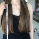 12 inches of virgin straight brown hair