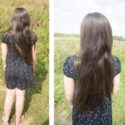 Children hair 17 inches long, dark brown