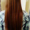 Virgin reddish brown - dark strawberry blonde straight vibrant hair.